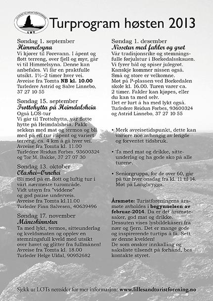 Turprogram for høsten 2013