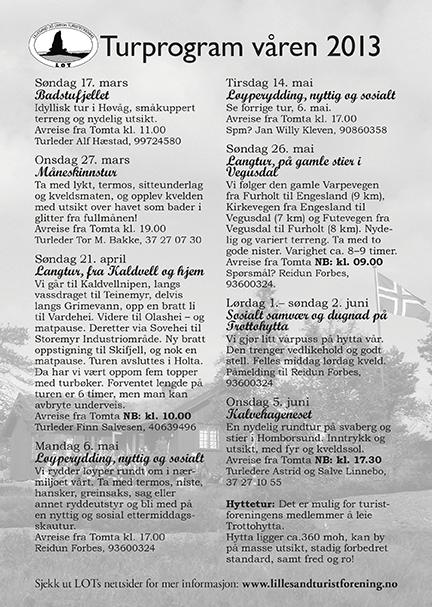 Turprogram for våren 2013