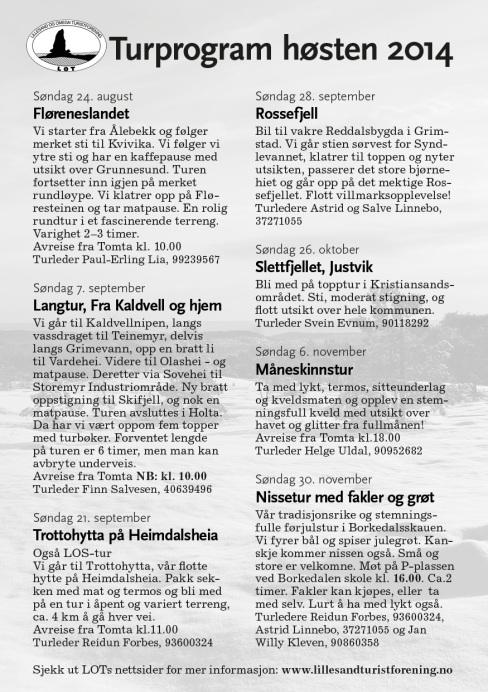 Turprogram for høsten 2014