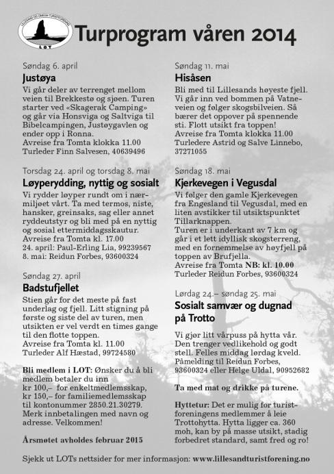 Turprogram for våren 2014